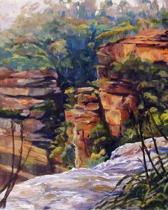 Above Wentworth Falls, Katoomba, Oil on canvas 41x51 cms