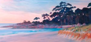 The Gardens, Bay of Fires, sunset.  Oil on board, 80 x 40 cms