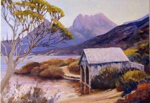 Cradle Mountain from Dove Lake, Oil on board, 60x43 cms