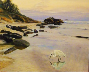 Fishing for breakfast - South-West Rocks, oil on board, 51x41 cms