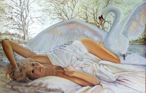 Leda and the Swan, oil on board with silver leaf, 91.5x62 cms