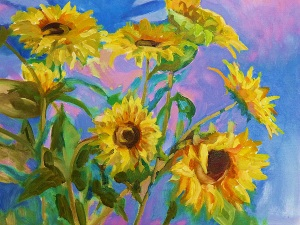 Sunflowers - oil on canvas mounted on board - 60x50