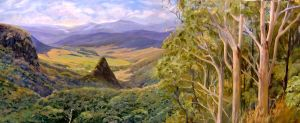 View of Numinbah Valley from Binna Burra, Oil on canvas, 120x60 cms