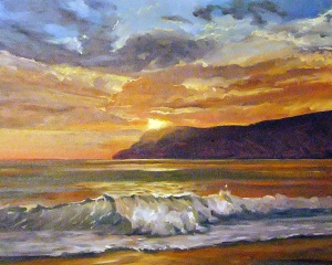 Sunset over the sea, oil on canvas, 61x41