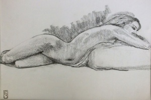 """Almost asleep - graphite on paper, 14x11"""""""