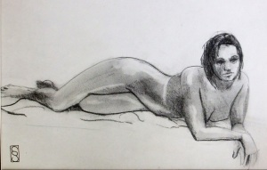 Languid musings - graphite on paper 14x11""