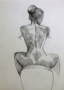 """Sculpted back --graphite and pen on paper 11x14"""""""