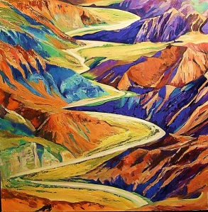 Dry river-bed, Utah. Oil on canvas. 75 x 75 cms