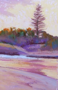 Echo Beach Dawn - oil pastel, 30x15