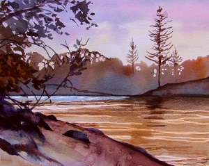Echo Beach - Dawn - Watercolour 30x40