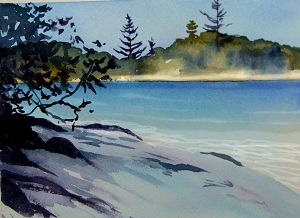Echo Beach early afternoon - watercolour sketch