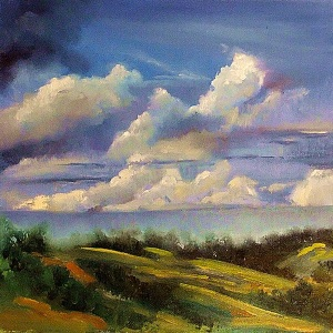 Clouds over the Tallai Hills, oil on canvas board, 30x30 cms
