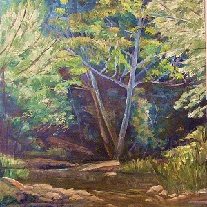 Mudgeeraba Creek, Spring Foliage, oil on canvas board, 30x30 cms
