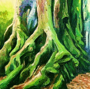 Antarctic Beech Tree, Springbrook, oil on canvas board, 30x30 cms