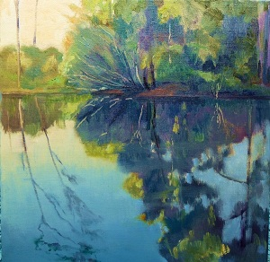 Calm Pool Mudgeeraba Creek, oil on canvas board, 30x30 cms