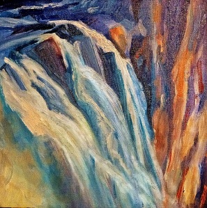 Top of the Falls, Springbrook, oil on canvas board, 30x30 cms.