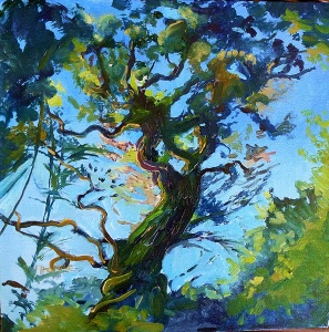 Into the Canopy, oil on canvas board, 30x30 cms