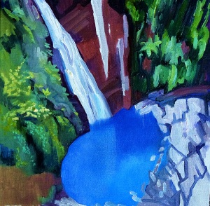 Coomera Falls, oil on canvas board, 30x30 cms.
