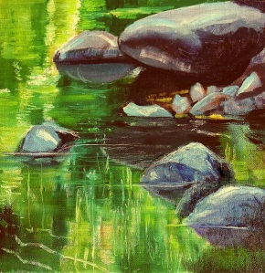 Forest reflections, Mudgeeraba Creek, oil on canvas board, 30x30