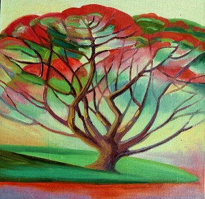 Poinciana in Bloom, oil on canvas board, 30x30 cms.