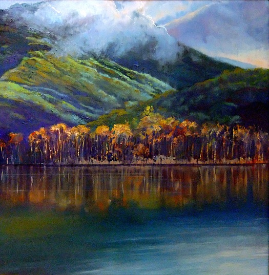 Hinze Dam after the Storm, oil on canvas, 75 x 75 cms