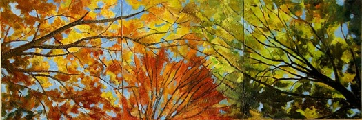 Autumn leaves triptych, oil and texture medium on board, 3x panels 30x30 cms.