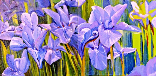 Iris Triptych, oil on canvas board, 3 panels 30x30
