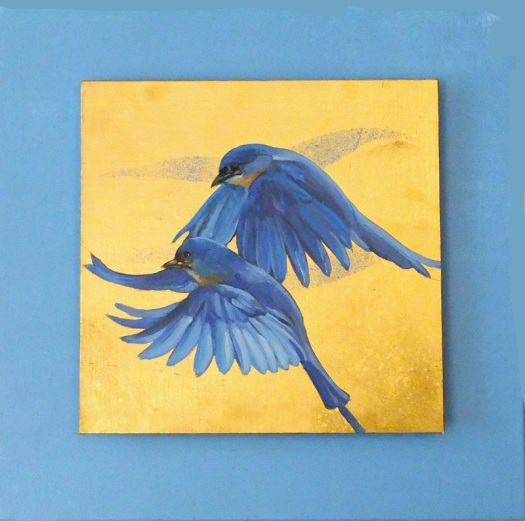 Bluebirds 3 - oil and mixed media on canvas, 30x30, mounted on studio canvas 45x45 cms.
