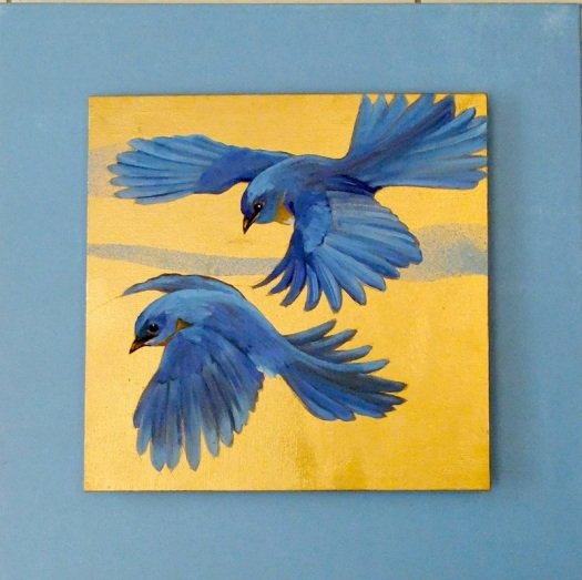 Bluebirds 2 - oil and mixed media on canvas, 30x30, mounted on studio canvas, 45x45