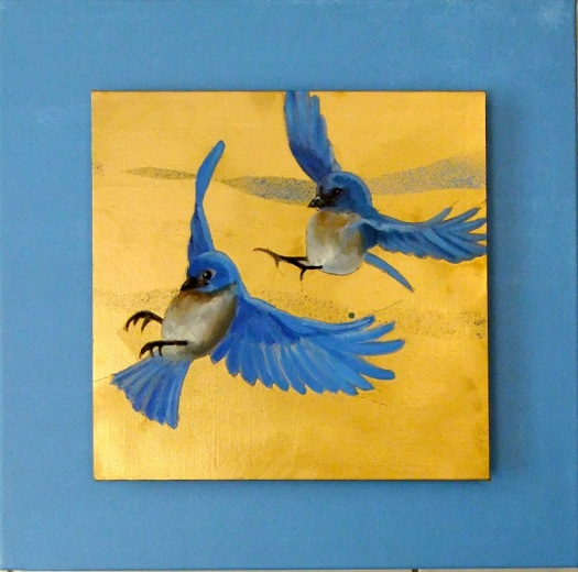 Bluebirds 1 - oil and mixed media on canvas board, 30x30 mounted on studio canvas 45x45 cms