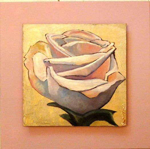 Pale Pink Rose, oil and mixed media on canvas board, 30x30 cms mounted on studio canvas, 45x45