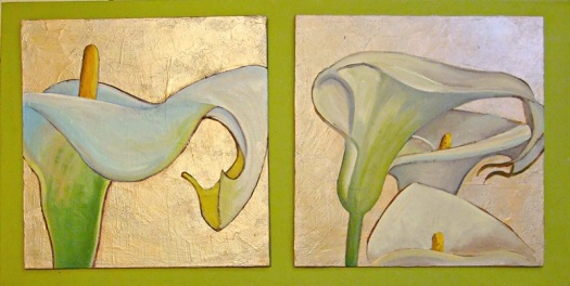 Arum Lilies - oil and mixed media mounted on studio canvas, 41 x 82 cms