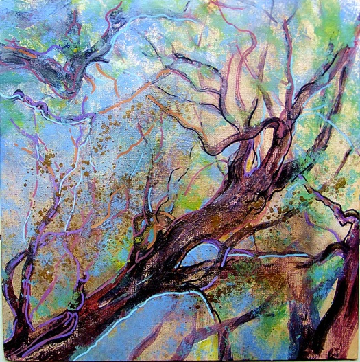 Rainforest filigree - mixed media on canvas board, 30x30 cms