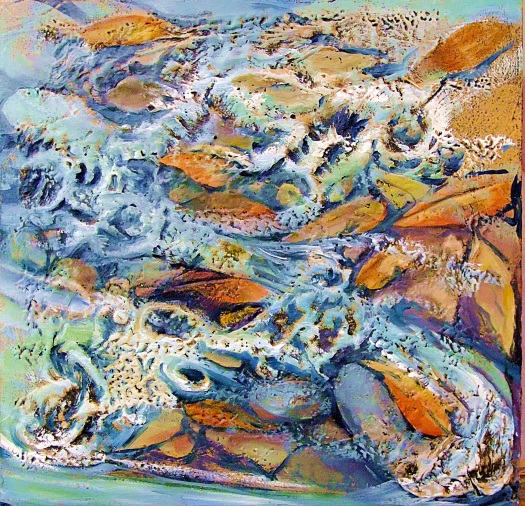 Creek textures, oil and mixed media on canvas board, 30x30 cms