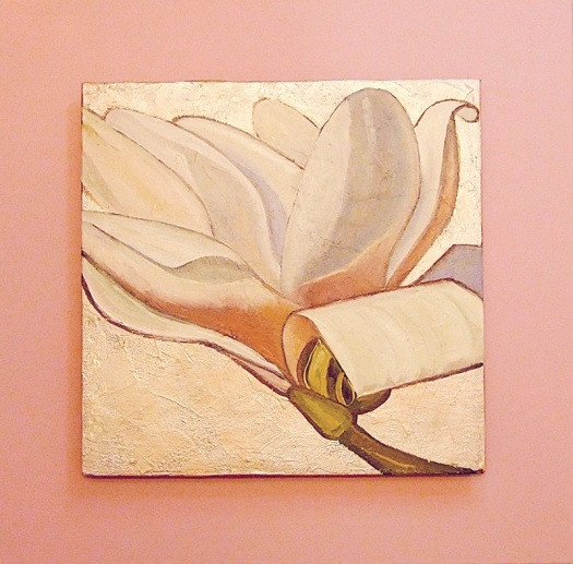 Magnolia blossom, oil and mixed media on canvas board, 45x45