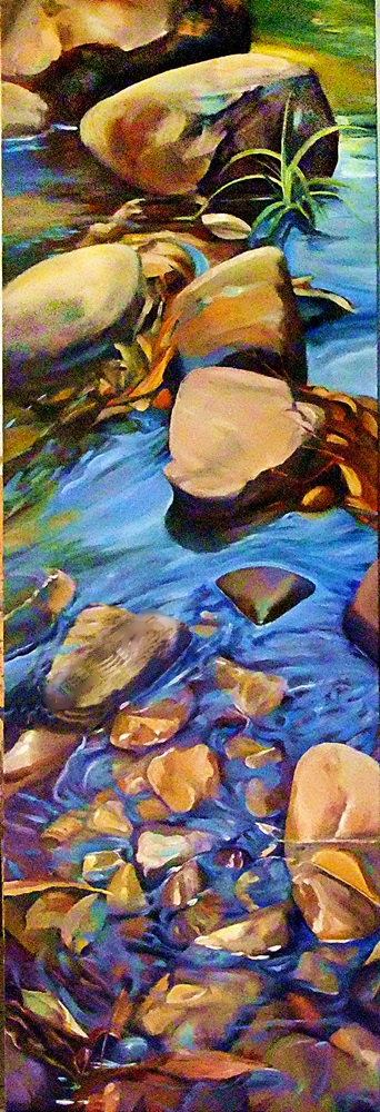 Shallow Waters - oil on canvas, 122 x 41 cms