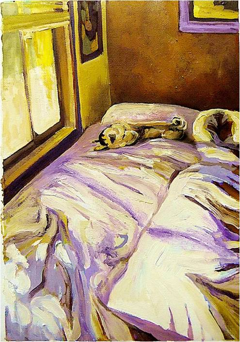 Sleeping in - study in violet and yellow