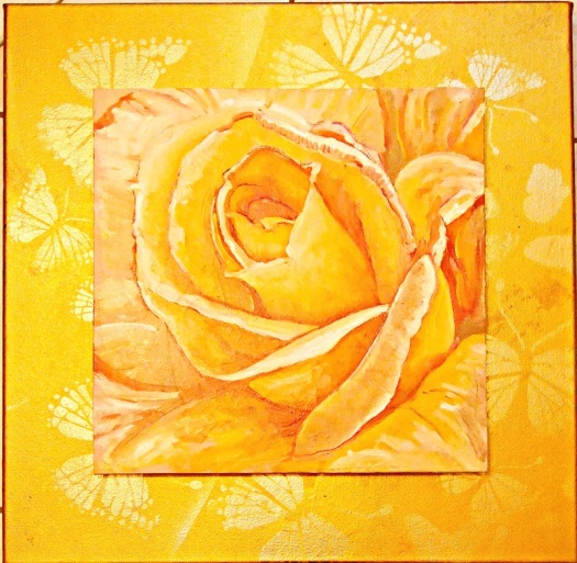 Yellow Rose 1, oil on canvas, 30x30 cms, mounted on 41 x 41 studio canvas, painted and stencilled