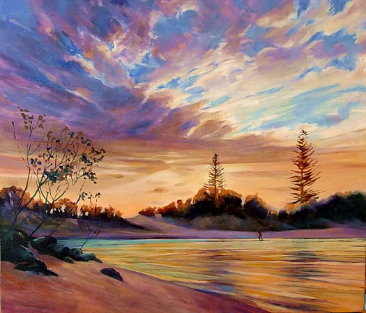 Tallebudgera Inlet, Dawn. Oil on canvas, 50 x 60cms
