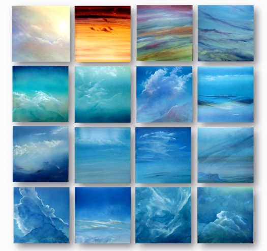 Atlas of Clouds, acrylic and oil paint on composite aluminium panels, each 400x400mm