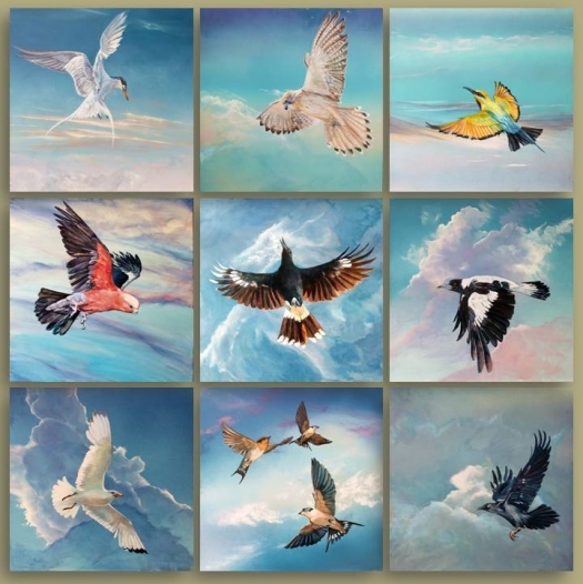 The Art of Riding on the Wind, Oil on Aluminium Composite sheeting, 9x panels 40x40 cms, overall size 135x135 cms