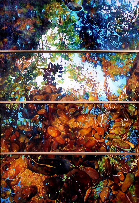 Jewel Box - Susan Skuse - 2015 Oil on canvas mounted on board 4x panels 30x80 cms
