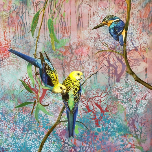 Equilibrium - pale headed rosellas and azure kingfisher.web