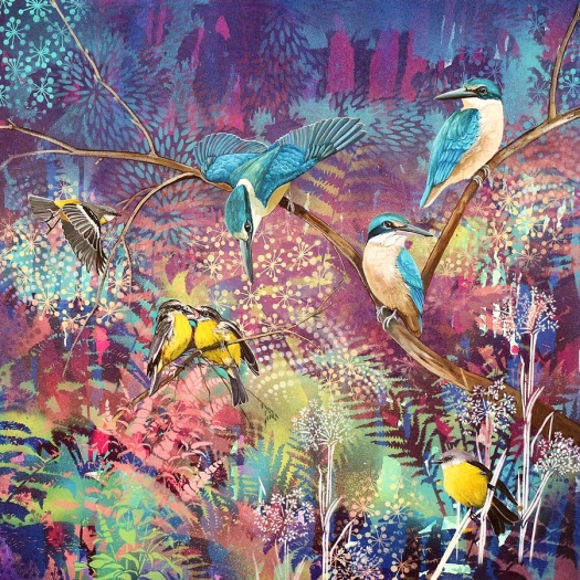 Turquoise and Gold - sacred kingfishers and eastern yellow robins.web